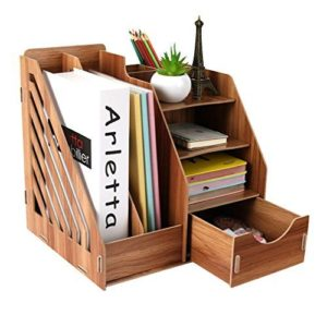 Wooden File Sorter Book Stand Organizer Office Rack Storage Box
