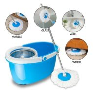 Magic Spin Mop Bucket Stainless Steel Spinner with 2 Microfiber Mops
