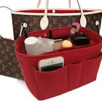EsoGoal Purse Organizer Insert Handbag Organizer – 2in1 Bag Purse Tote Insert with Zipped Pocket Tote Shaper and Many Pockets for Travel Shopping Party