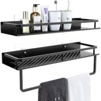 Shower Caddy 2-Pack, 15 Inches Aluminum Wide Space Shower Shelf Wall Mounted Storage Organizer with Towel Bar