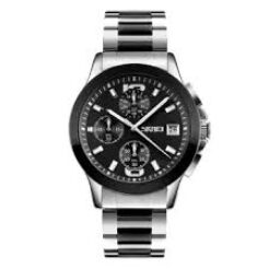 Classic Men's Stainless Steel Black Dial Watch